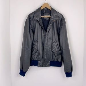 Members Only Genuine Leather Bomber Jacket